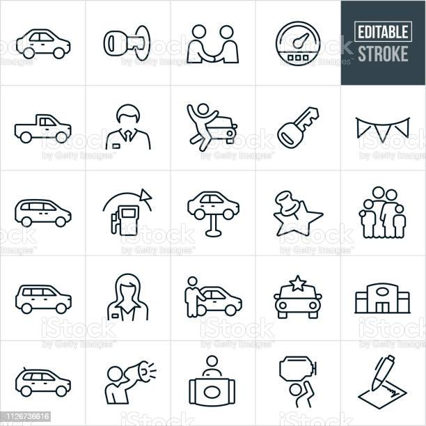 Auto Dealership Thin Line Icons Editable Stroke Stock Illustration - Download Image Now