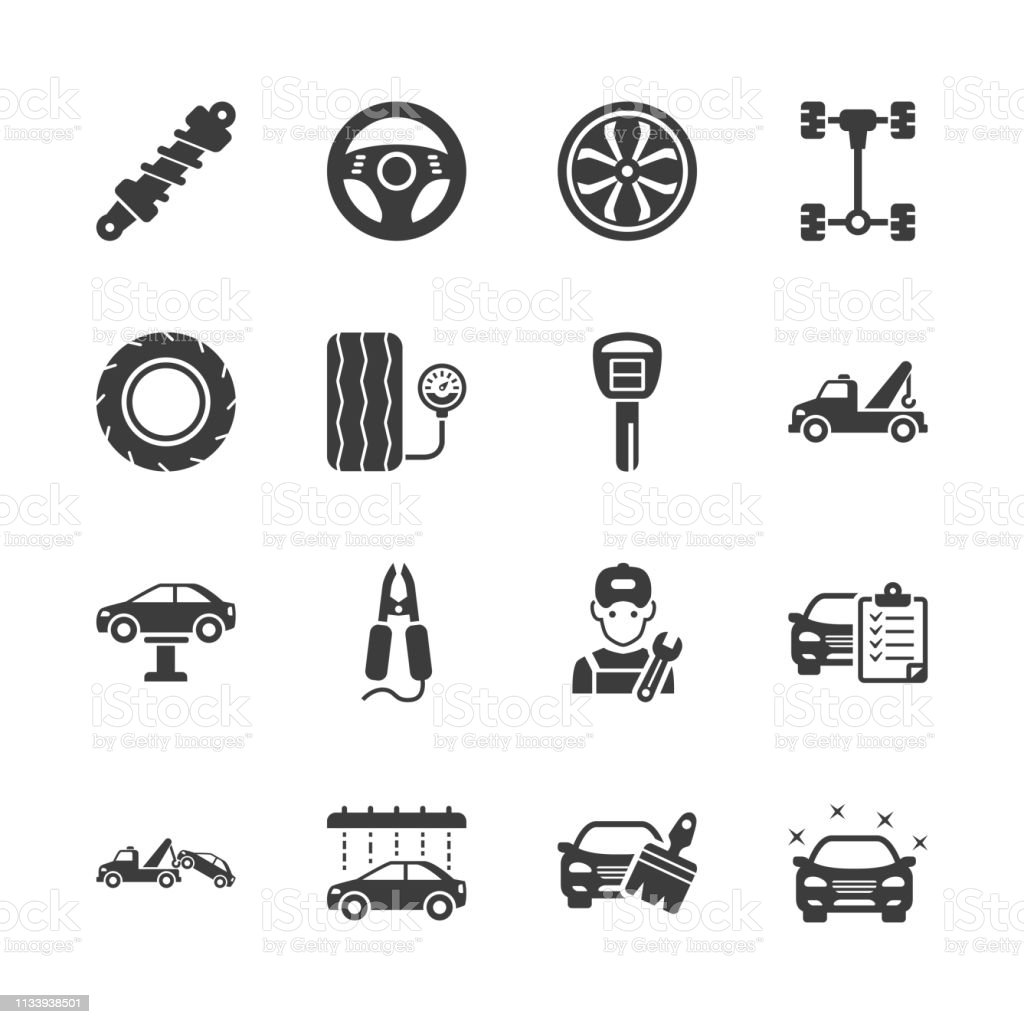 Auto Detailing - Car Service Icons vector art illustration