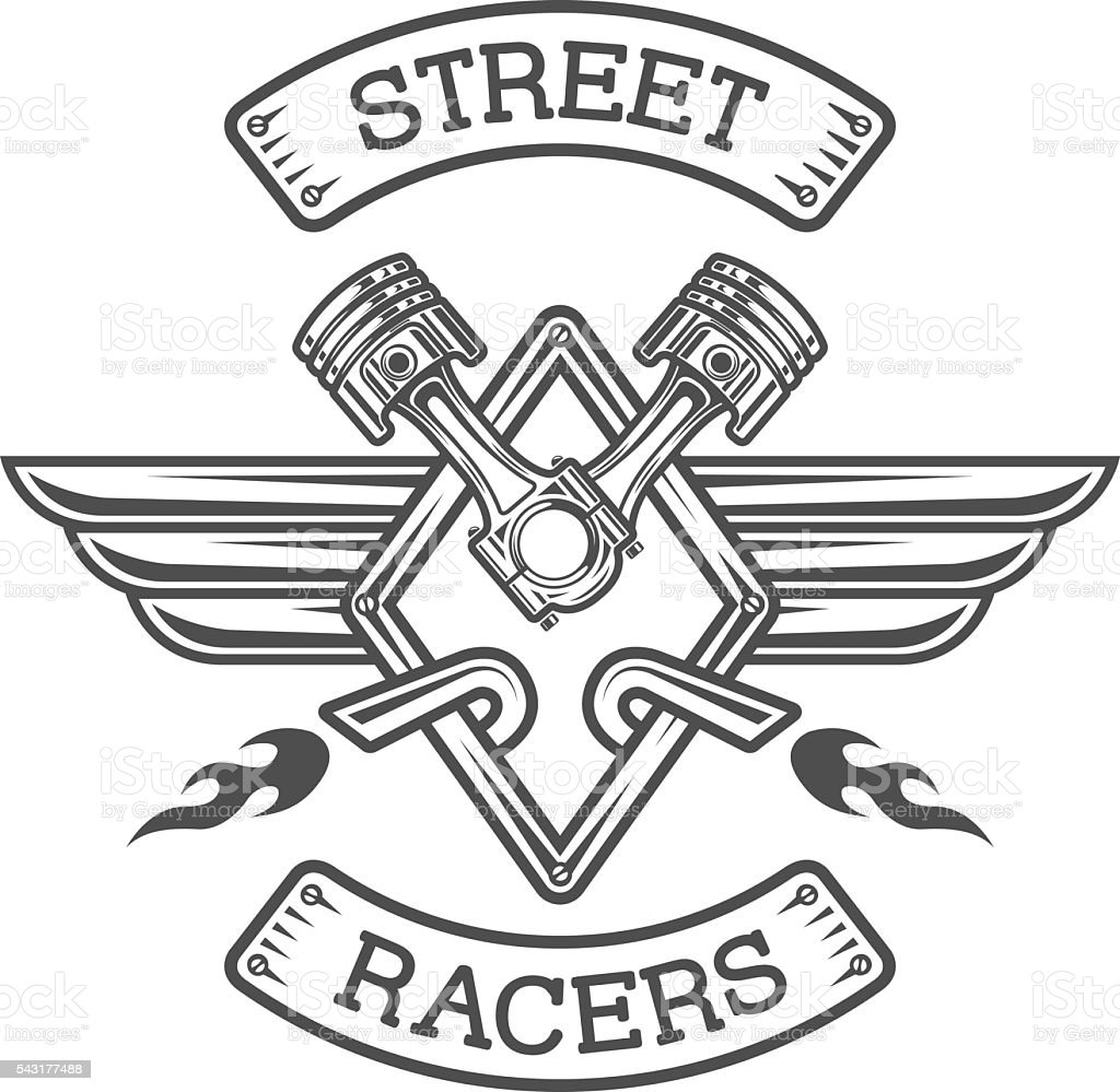 Auto emblem, sign. The racing theme. vector art illustration