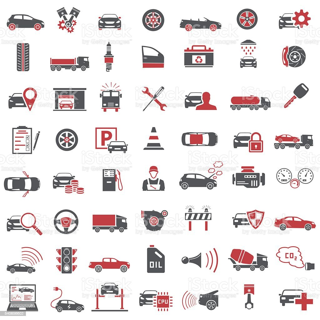 Auto Icons in Red and Black Color vector art illustration
