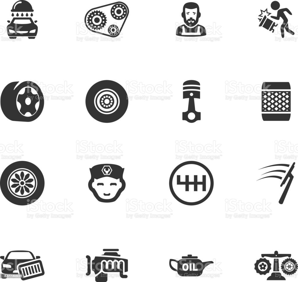 Auto icons set vector art illustration