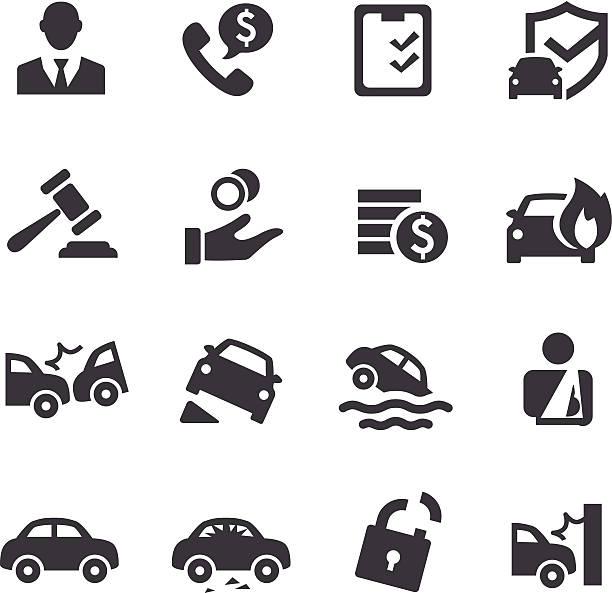 auto insurance icons acme series vector art illustration