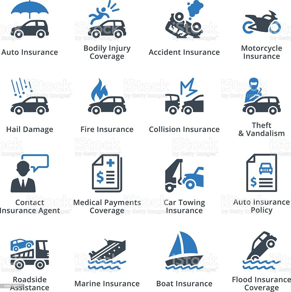 Auto Insurance Icons- Blue Series vector art illustration