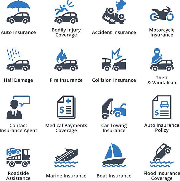 illustrazioni stock, clip art, cartoni animati e icone di tendenza di assicurazioni di veicoli-serie blu - grandine