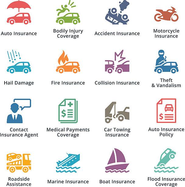 illustrazioni stock, clip art, cartoni animati e icone di tendenza di assicurazione auto icone-serie di colore - grandine