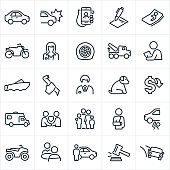 A set of auto insurance icons. The icons include insurance agents, a car, car wreck, insurance policy, injury, medical, motorcycle, flat tire, tow truck, claim adjuster, boat, break-in, pet, RV, family, car repair, ATV and rental car to name a few.