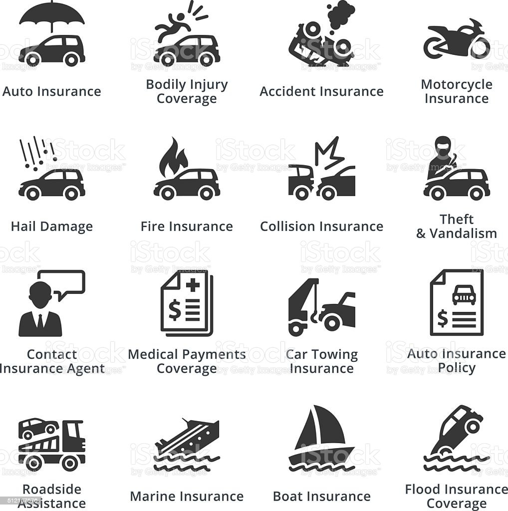 Auto Insurance Icons vector art illustration