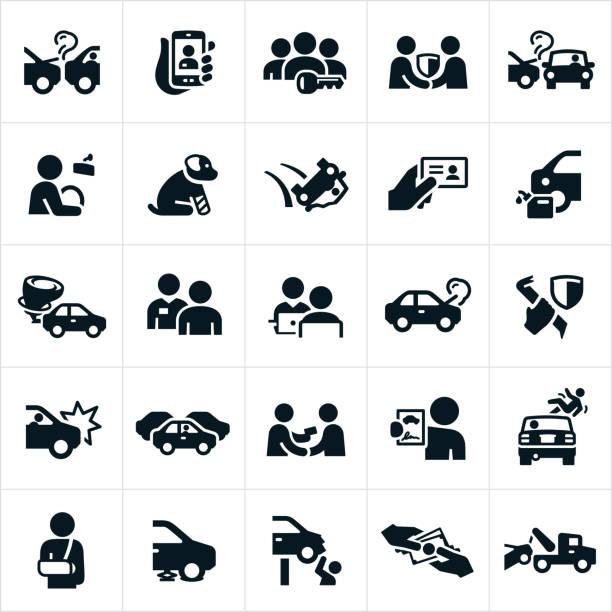 bildbanksillustrationer, clip art samt tecknat material och ikoner med auto insurance ikoner - krockad bil