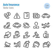 Auto Insurance Icons - Vector Line Series