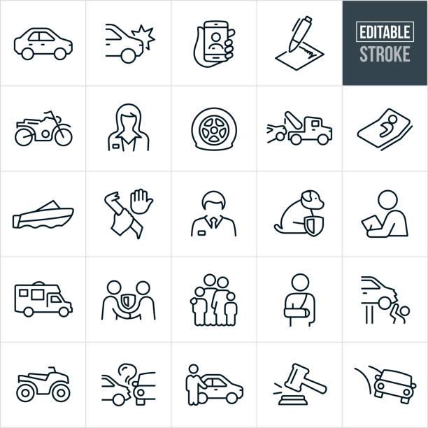 bildbanksillustrationer, clip art samt tecknat material och ikoner med bilförsäkringar tunna linje ikoner-ediatable stroke - krockad bil