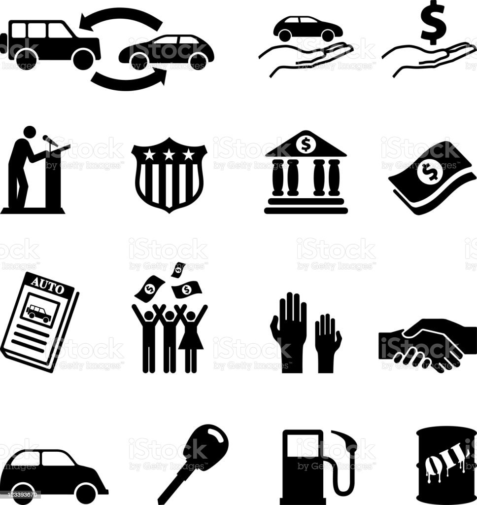 Auto loan and car credit approval black & white icons royalty-free stock vector art