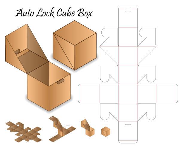 Auto Lock Box packaging die cut template design. 3d mock-up vector art illustration