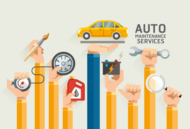auto maintenance services. - mechanic stock illustrations, clip art, cartoons, & icons