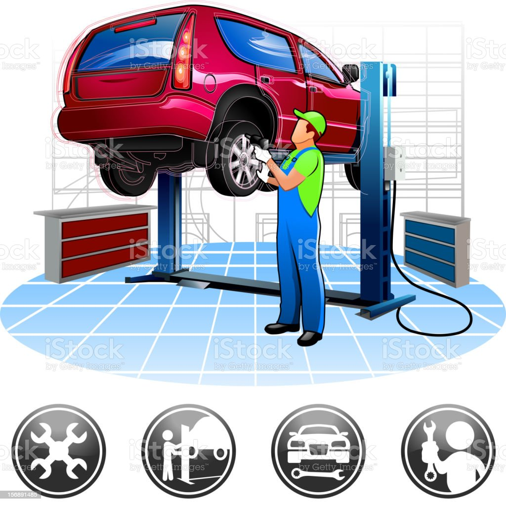 Auto mechanic at repair shop royalty-free auto mechanic at repair shop stock vector art & more images of adult