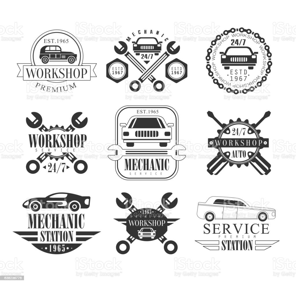 Auto Mechanic Black And White Emblems. Classic Style vector art illustration
