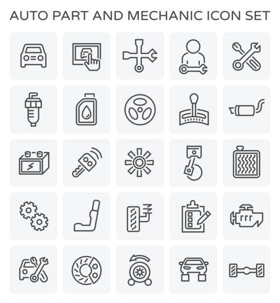 auto mechanic icon vector art illustration