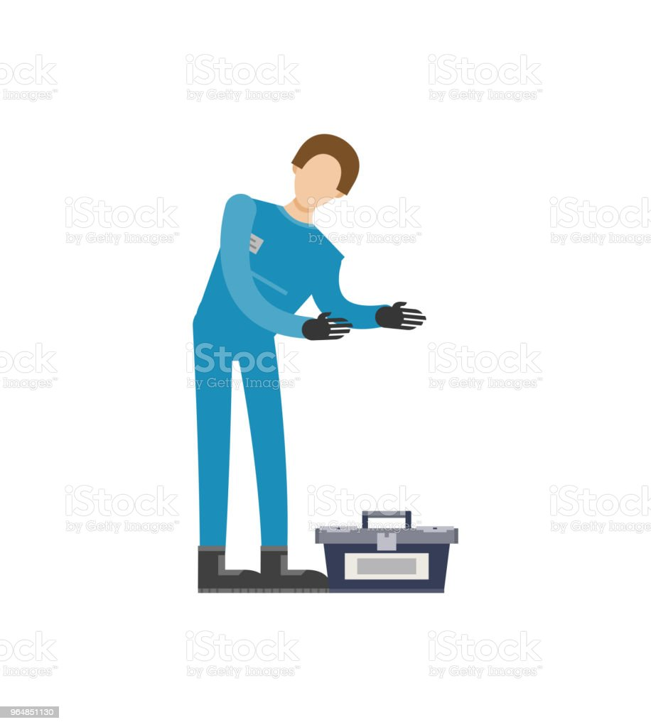 Auto mechanic in uniform with tools icon royalty-free auto mechanic in uniform with tools icon stock vector art & more images of adult
