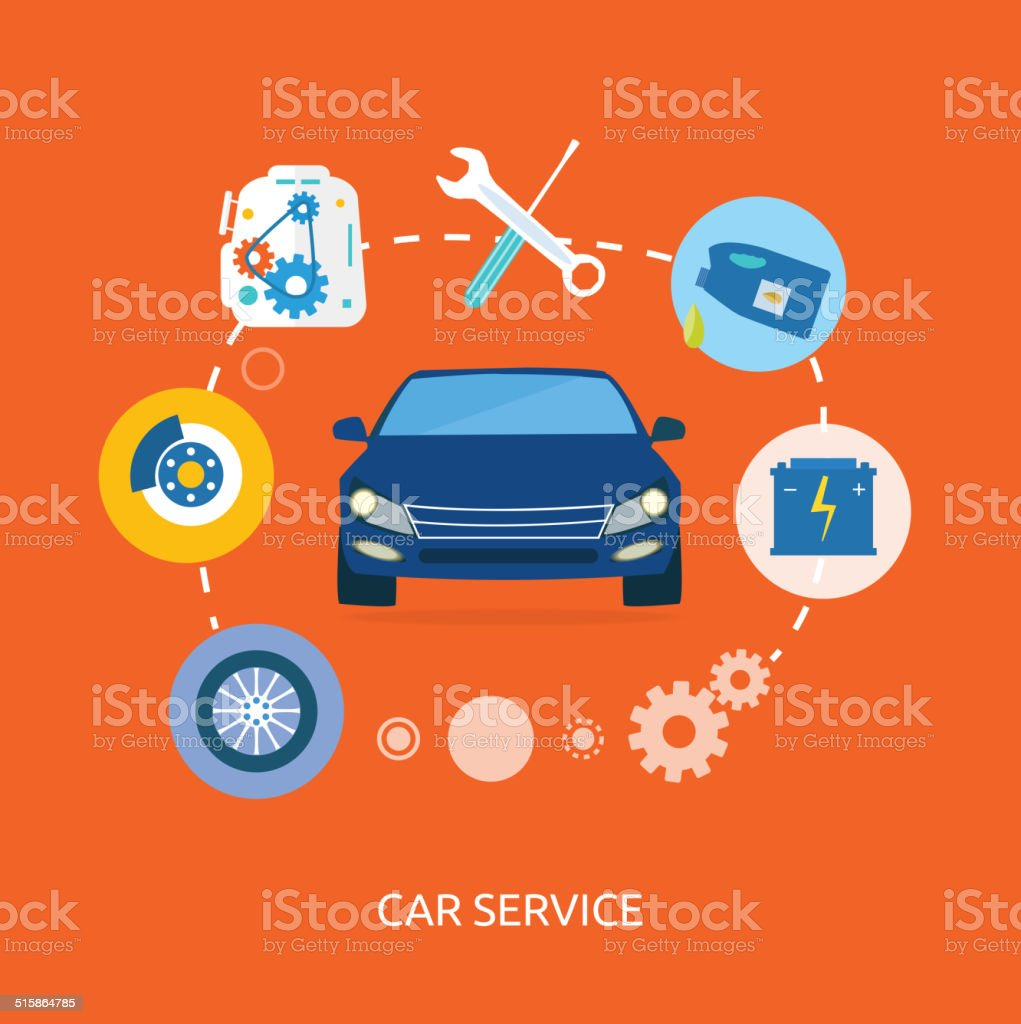 Auto mechanic service flat icons of maintenance car repair vector art illustration