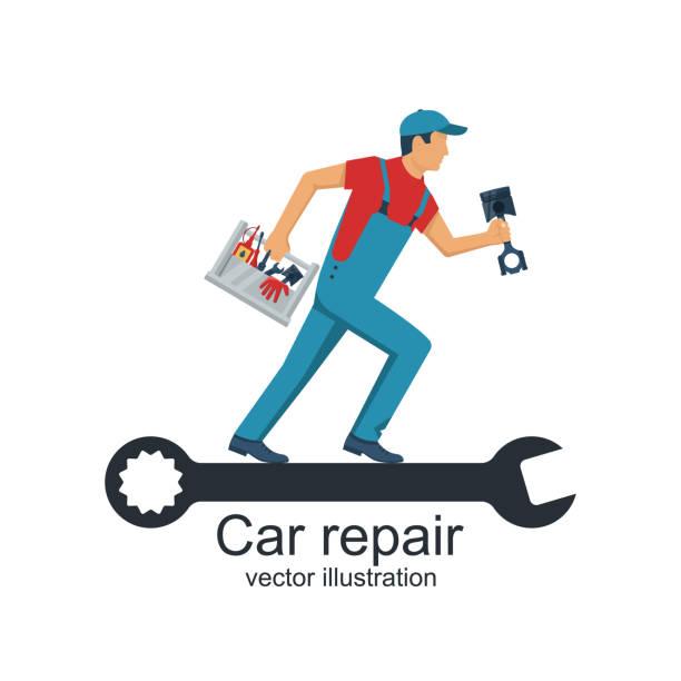 ilustrações, clipart, desenhos animados e ícones de mecânico de auto com caixa de ferramentas e peças de substituição para o reparo de carros - ícones de festas e estações