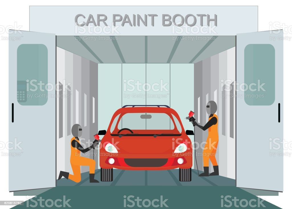 Auto mechanic worker painting new car at car paint booth. vector art illustration