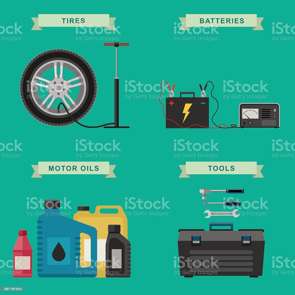 Auto parts and auto service flat icons. vector art illustration