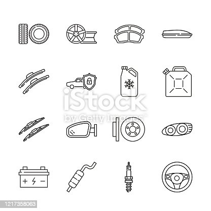Auto parts for car service line icon set. Vector illustrations to indicate product categories in the online auto parts store. Car repair. Brake pad, wheel, tire, wiper blade, spark plug, brake rotor, anti-theft system.