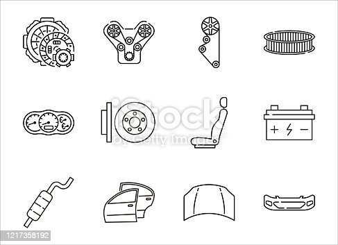 Auto parts for car service line icon set. Vector illustrations to indicate product categories in the online auto parts store. Car repair. Clutch, engine, timing belt, brake disk, exhaust