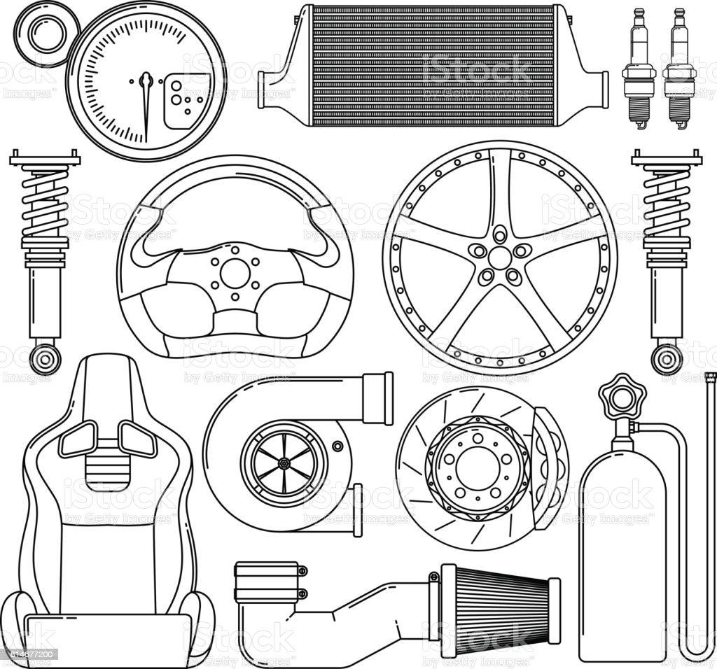 Auto Teile Icons Set. – Vektorgrafik