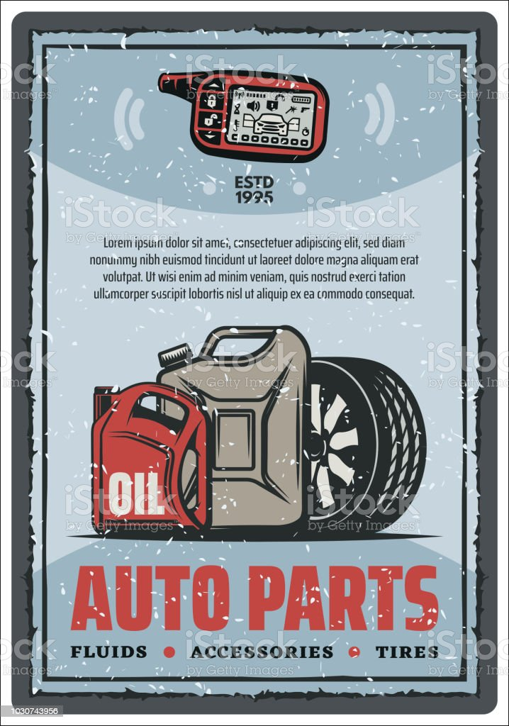 Auto Parts Shop And Tire Store Vintage Poster Stock Illustration