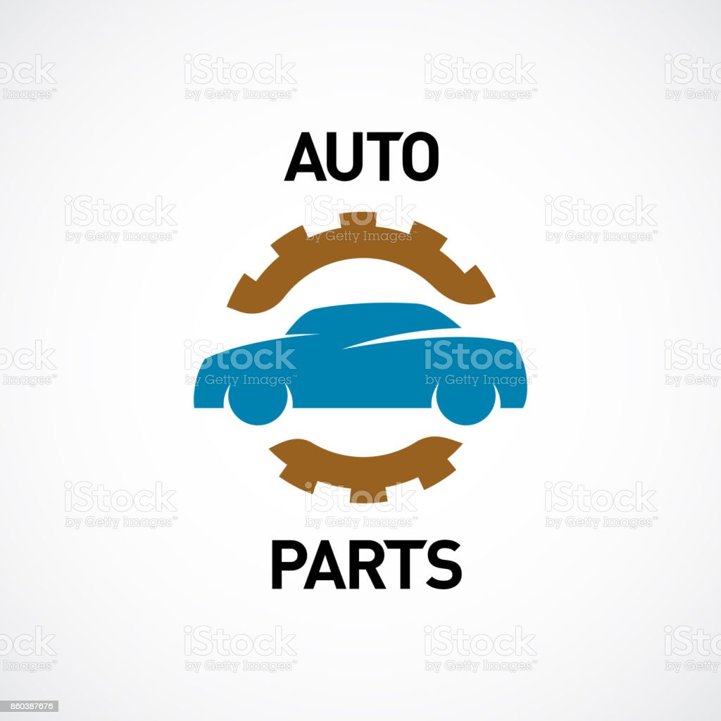 Auto Parts Symbol Car Silhouette And Gear Stock Vector Art 860387676