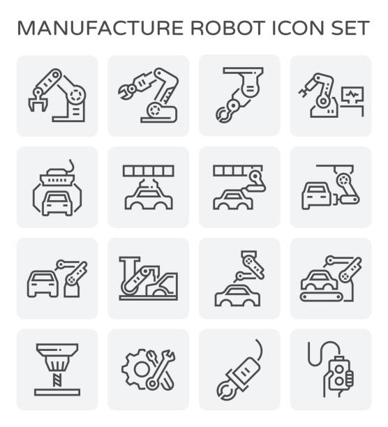 auto production icon Robot working with auto production line icon set. automobile industry stock illustrations