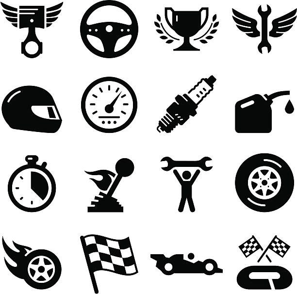 Auto Racing - Black Series Auto racing icon set. Professional clip art for your print or Web project. See more in this series. steering wheel stock illustrations