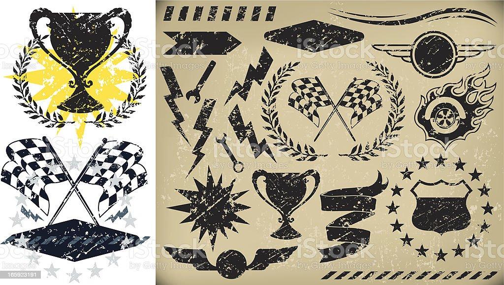 Auto Racing, Checkered Flag Grunge Icons vector art illustration