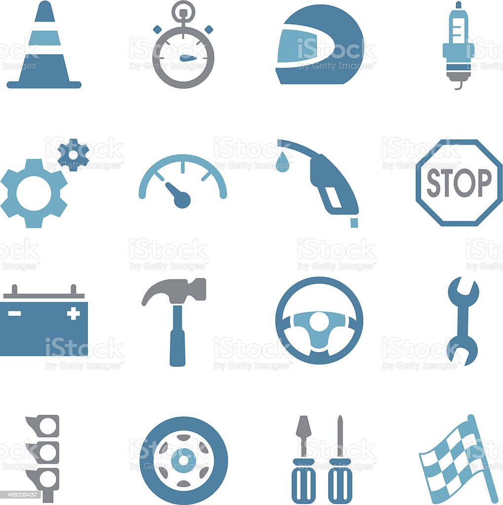 Auto Racing Icons | Color vector art illustration