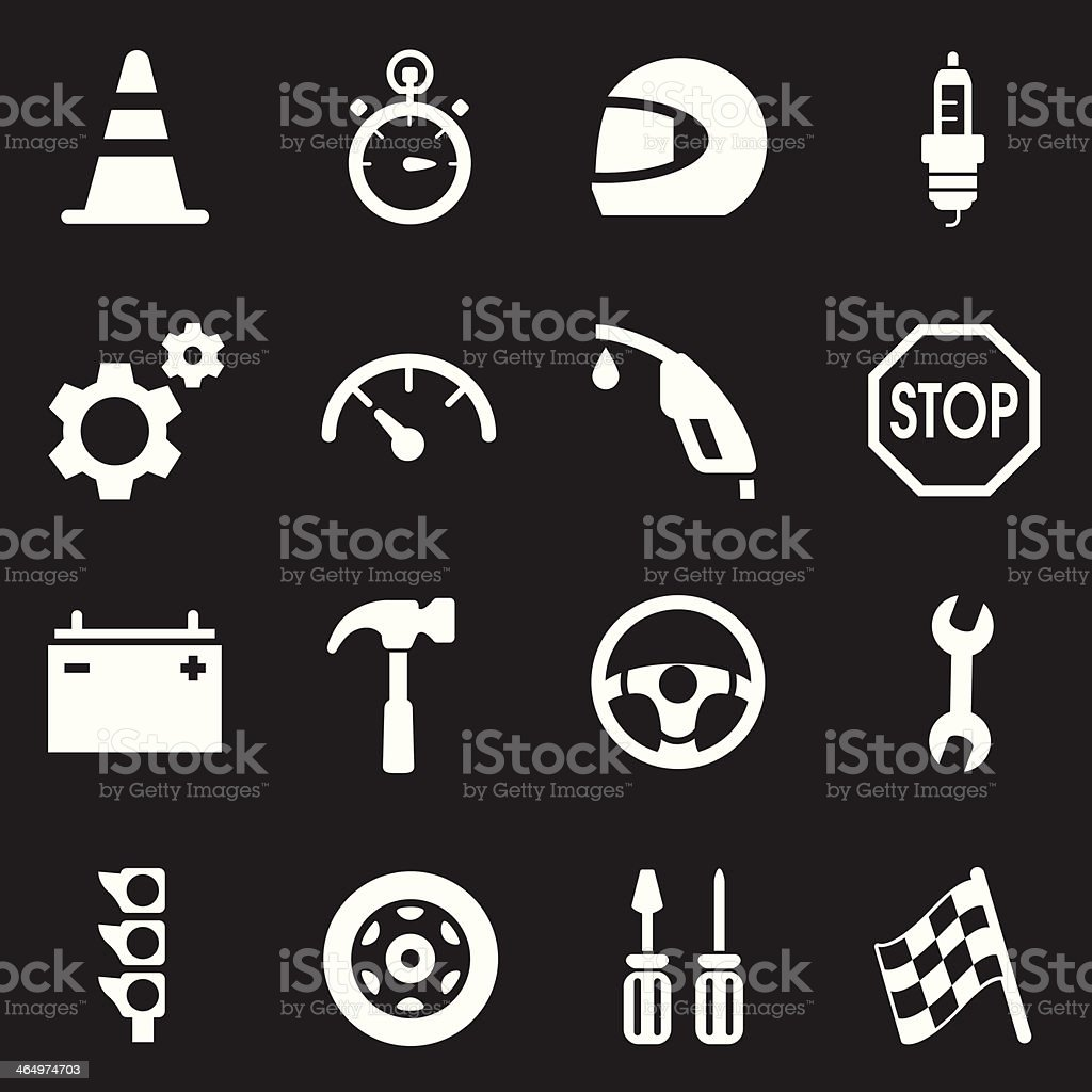 Auto Racing Icons | White Series royalty-free stock vector art
