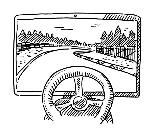 Auto Racing Simulator Steering Wheel Drawing Hand-drawn vector drawing of an Auto Racing Simulator with a Steering Wheel. Black-and-White sketch on a transparent background (.eps-file). Included files are EPS (v10) and Hi-Res JPG. motor sport stock illustrations