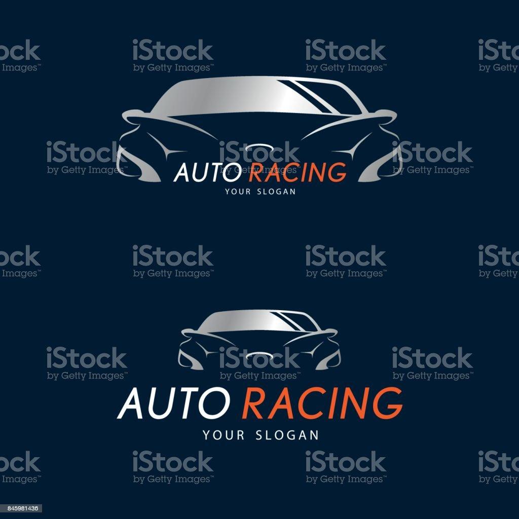 a5bfcf58ec9b Símbolo de carreras de auto en fondo azul oscuro. Plata coche icono diseño  para distribuidor