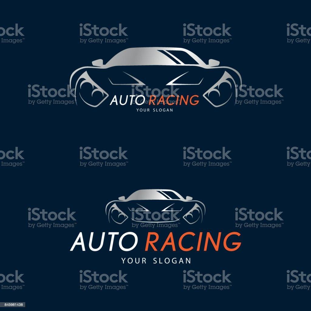Auto Racing Symbol On Dark Blue Background Silver Sport Car Icon