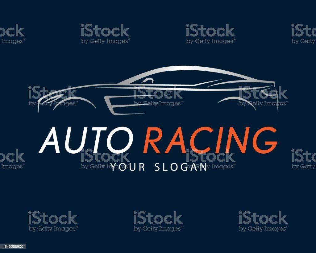 Auto Racing Symbol On Dark Blue Background Silver Sport Car Symbol