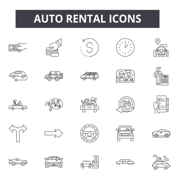 Auto rental line icons for web and mobile design. Editable stroke signs. Auto rental  outline concept illustrations Auto rental line icons for web and mobile. Editable stroke signs. Auto rental  outline concept illustrations car salesperson stock illustrations