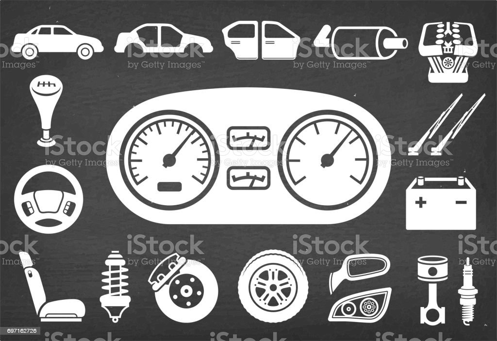 Auto repair and Car Assembly & Parts vector icon set vector art illustration