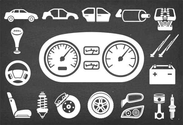 Auto repair and Car Assembly & Parts vector icon set Auto repair and Car Assembly & Parts vector icon set on chalk board. Vector icons are drawn on a chalkboad background. automobile industry stock illustrations