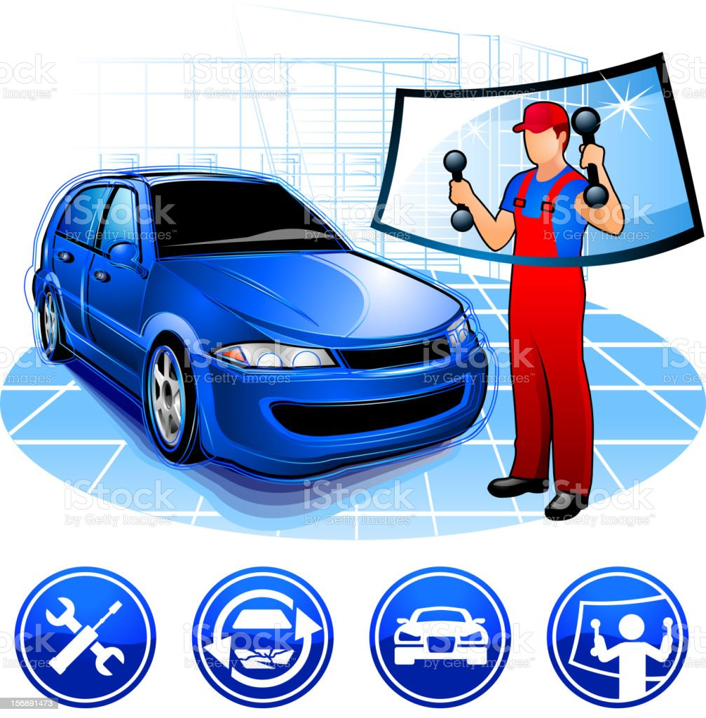 Auto Repair Autoglass Replacement Stock Vector Art Amp More