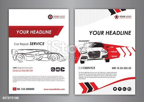 Auto repair Brochure templates, mockup flyer, automobile magazine cover.