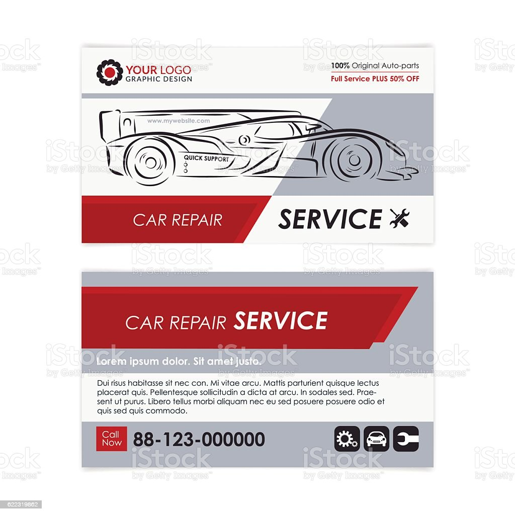 Auto Repair Business Card Template Stock Vector Art & More Images of ...