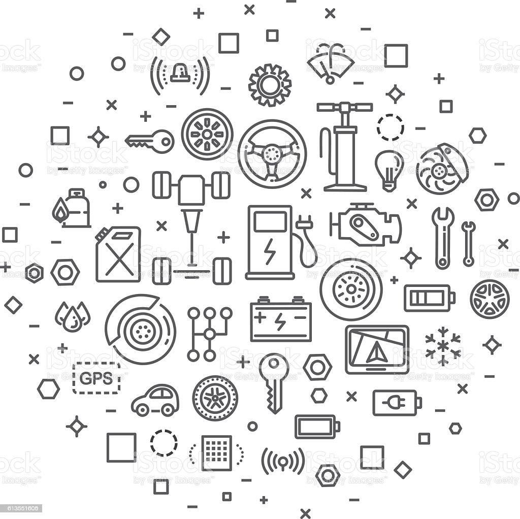 Auto repair service concept illustration thin line flat design vector art illustration