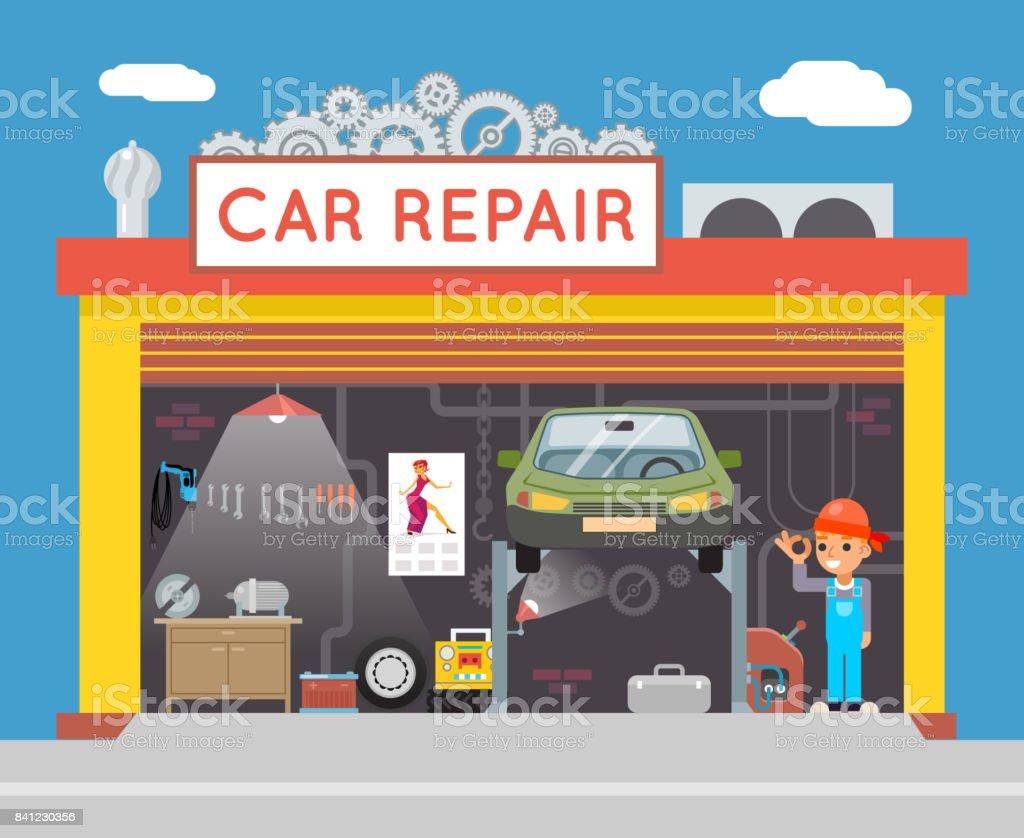 Auto Reparatur Service Garage Shop Techniker Fahrzeug Fix Flaches ...