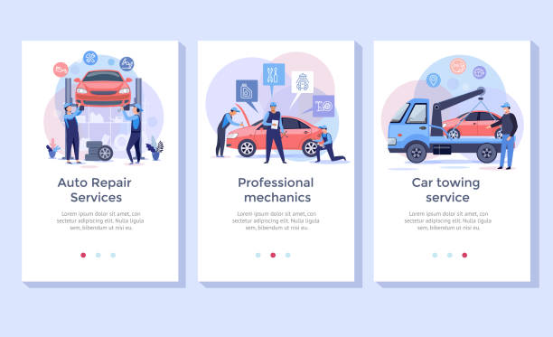 Auto repair service . Auto repair service concept illustration set, perfect for banner, mobile app, landing page tire vehicle part stock illustrations