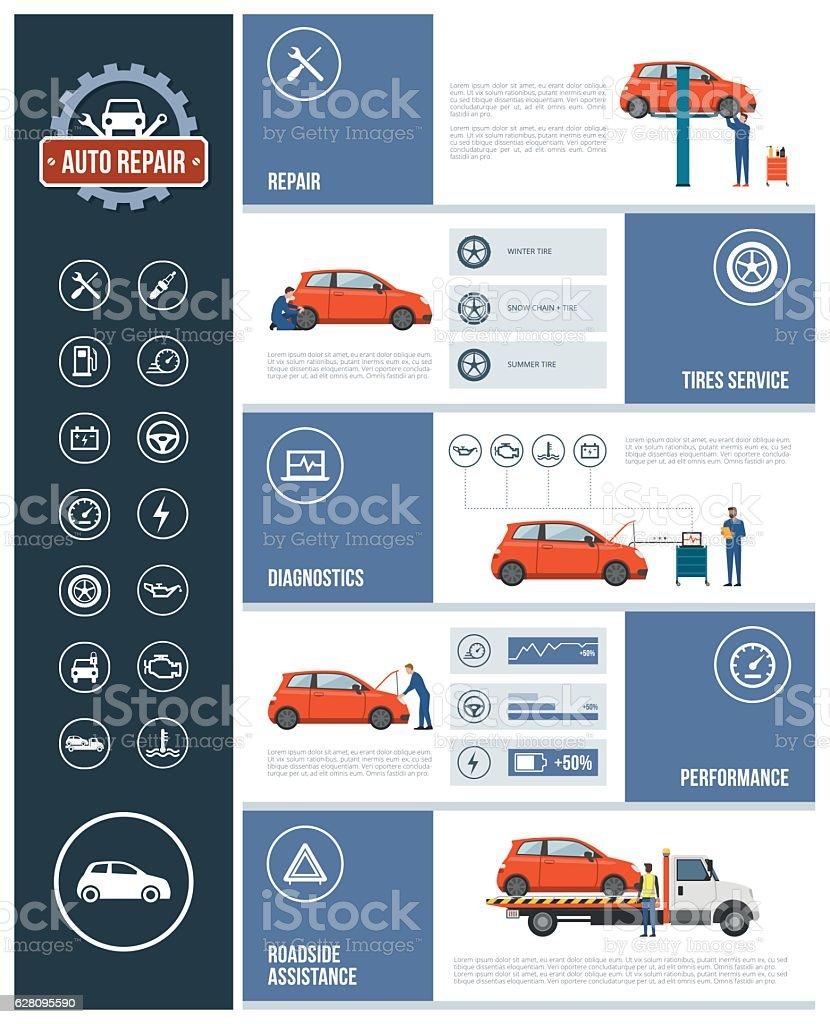 Auto repair service vector art illustration