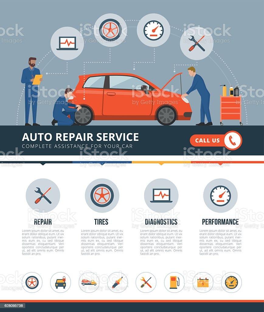 Auto repair service ベクターアートイラスト